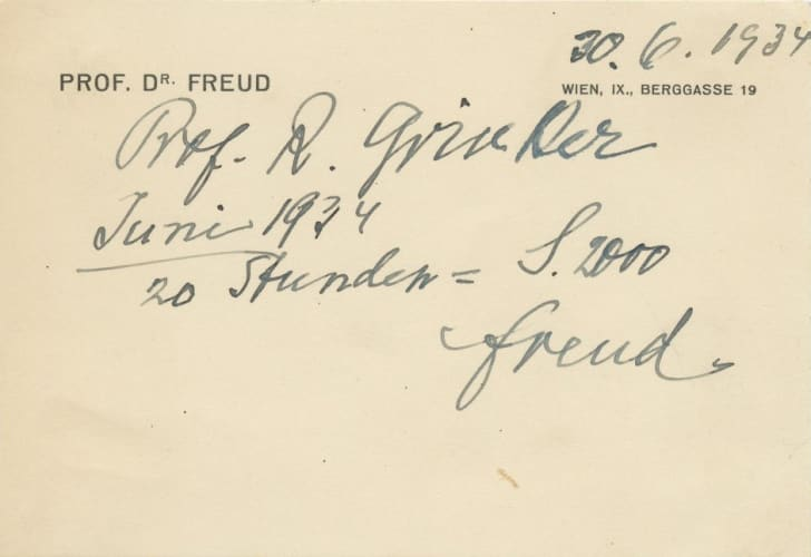 A handwritten note on stationary from Dr. Freud