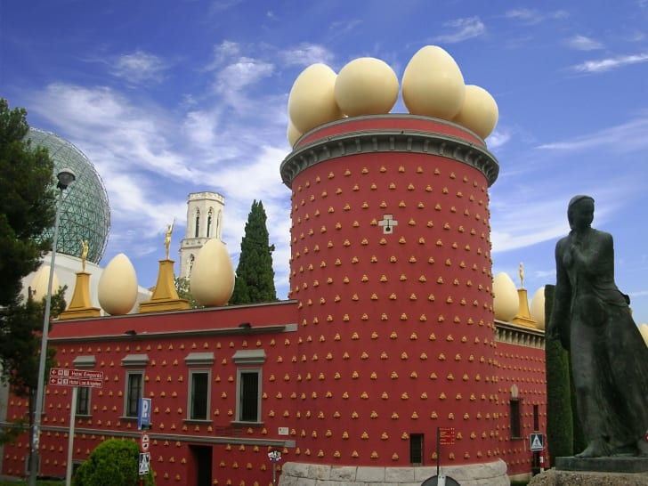 The exterior of Dalí's museum and theater in Figueres, Spain.