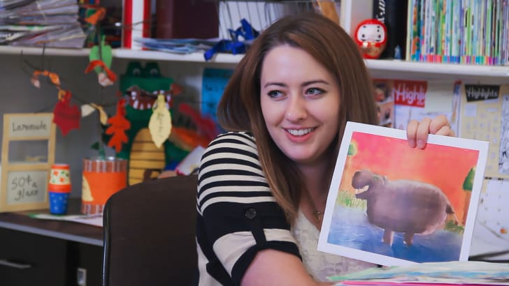 Annie Beer Rodriguez, Assistant Editor shows off a child's submission to Highlights Magazine at the editorial offices in Honesdale, PA (2015)