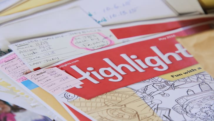 A work-in-progress issue of Highlights Magazine is circulated for notes at the Highlights editorial offices in Honesdale, PA. (2016)