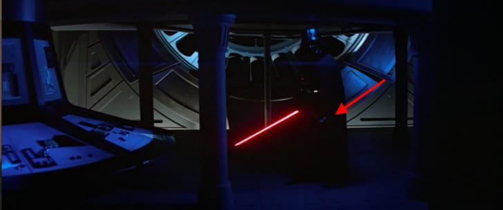 Darth Vader using Luke's lightsaber