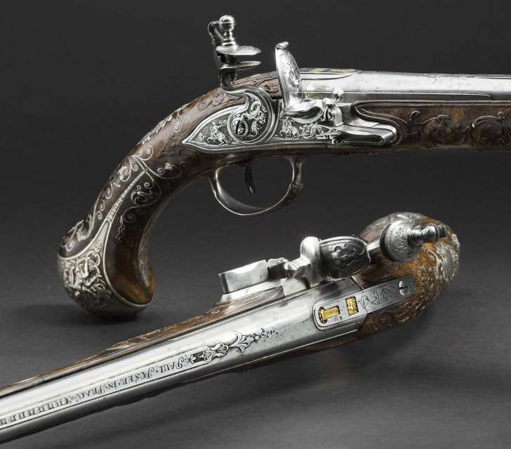 Two 18th-century flintlock pistols from the armory of the Princes von Lobkowitz.