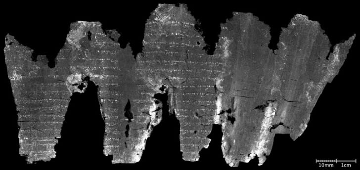 The fully unwrapped En-Gedi scroll with writing visible