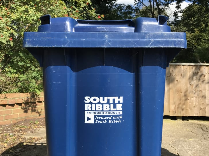 A blue trash can reads 'South Ribble Borough Council: Forward with South Ribble.'