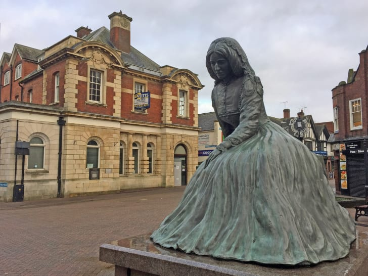 George Eliot statue in Nuneaton, Warwickshire, UK