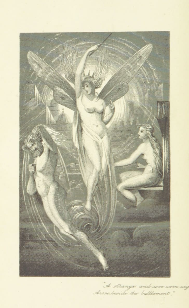 "An image of fairies from fairies from ""The Poetical Works of Percy Bysshe Shelley"""