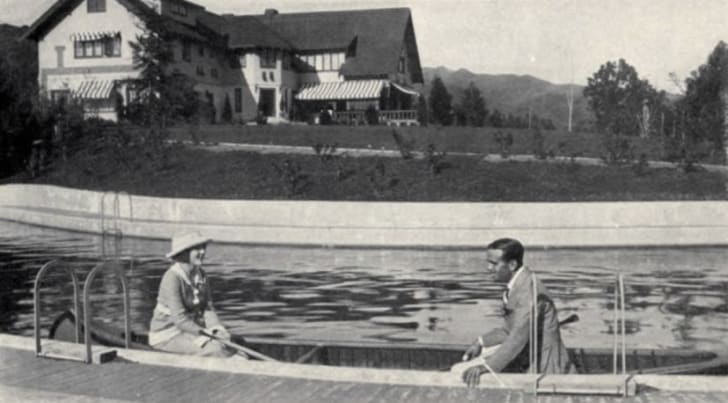 Mary Pickford and Douglas Fairbanks at their home Pickfair.