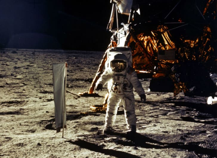 Buzz Aldrin is seen walking on the moon