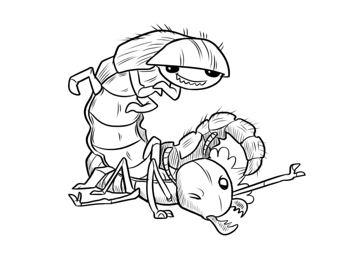 A black-and-white illustration of a beaded lacewing standing triumphantly over a prone termite