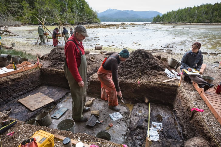Archaeologists on Calvert Island, British Columbia, Canada