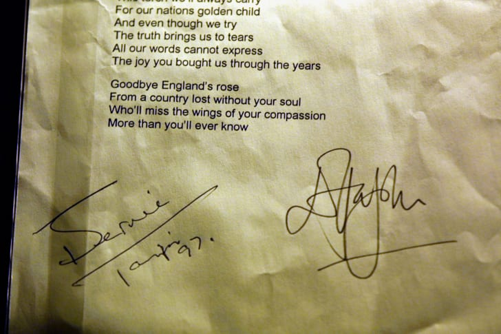 The manuscript of the song ''Candle in the Wind'' signed by Elton John and lyricist Bernie Taupin