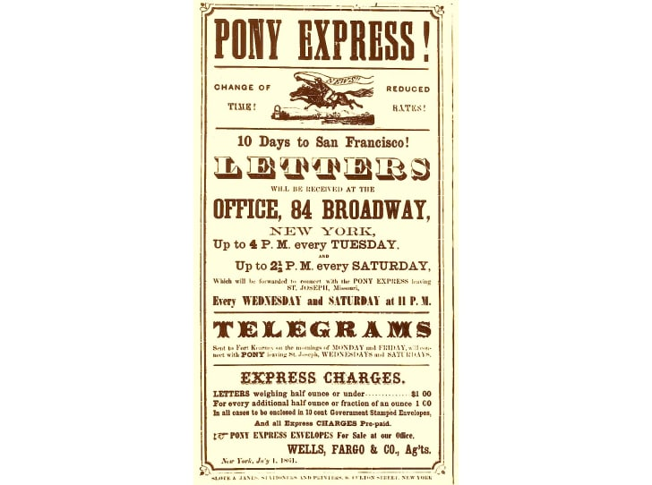 A vintage poster advertising rates for Pony Express mail