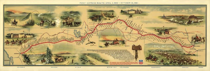 An illustrated map of the Pony Express route