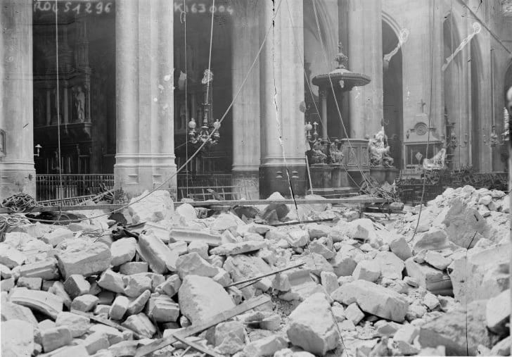 Paris church in ruins, World War I