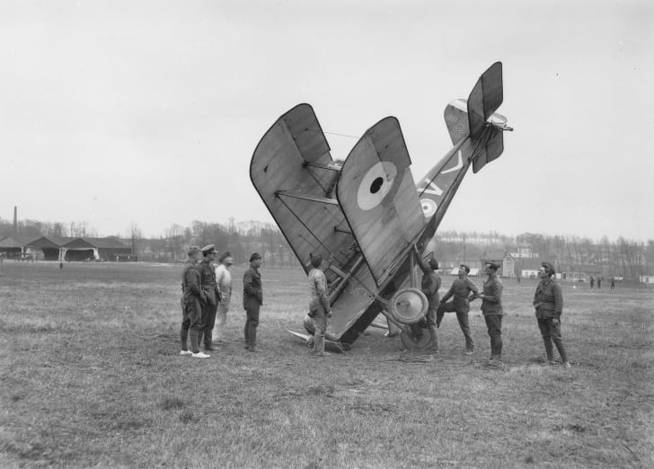 Damaged British plane, World War I