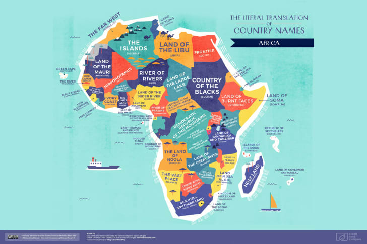 A map of Africa featuring the literal translations of its country names