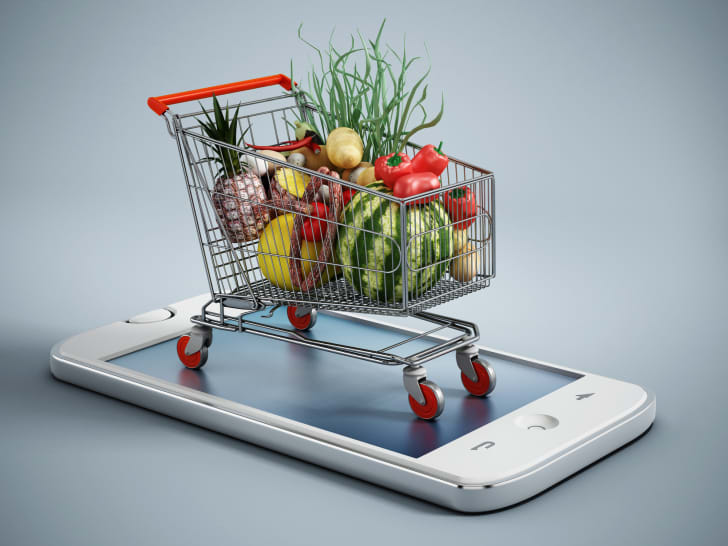 A grocery cart on top of iPhone