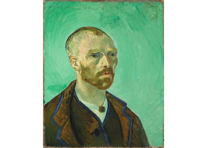 A self-portrait of Vincent van Gogh against a green background