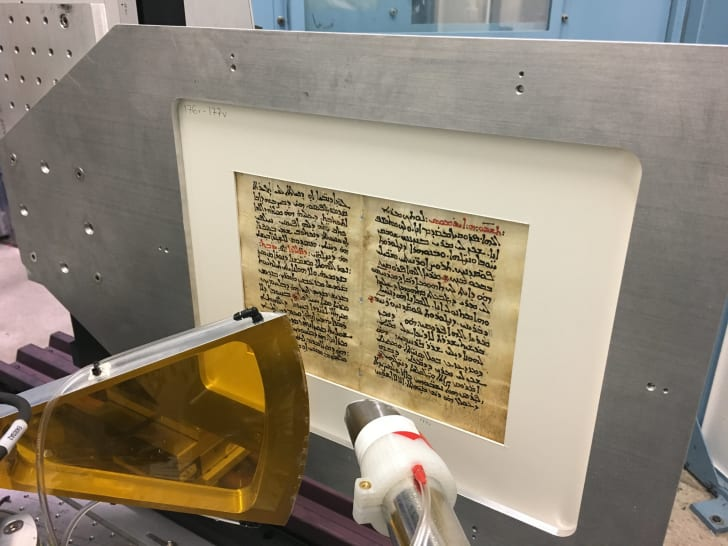 Scanning an ancient text.