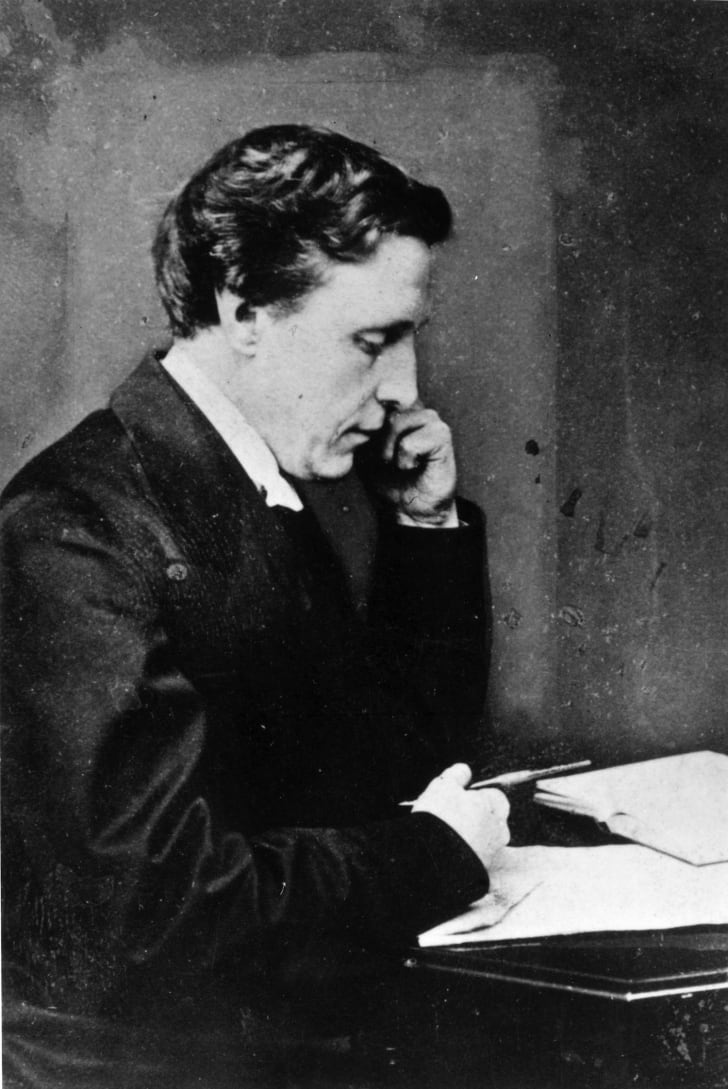 British mathematician, author and photographer Charles Lutwidge Dogson (1832 - 1898), who wrote several books under the pseudonym of Lewis Carroll