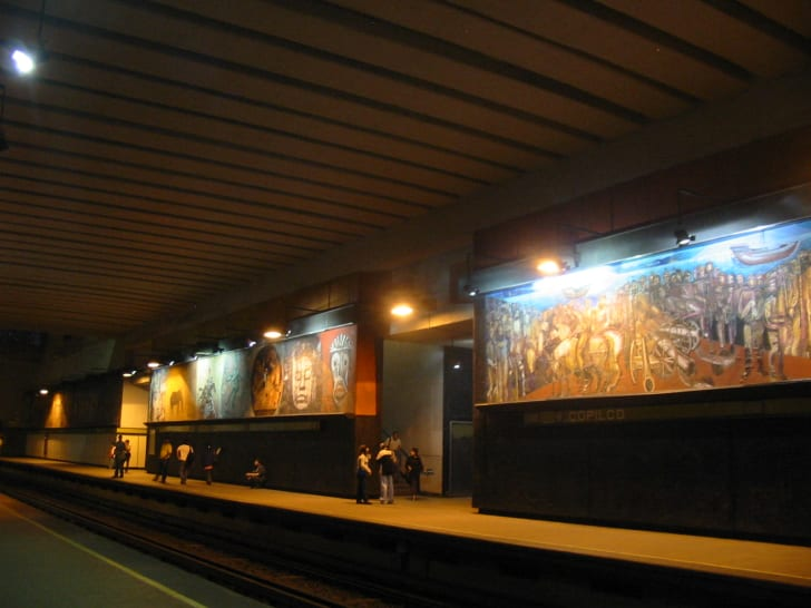 murals in the Mexico City subway