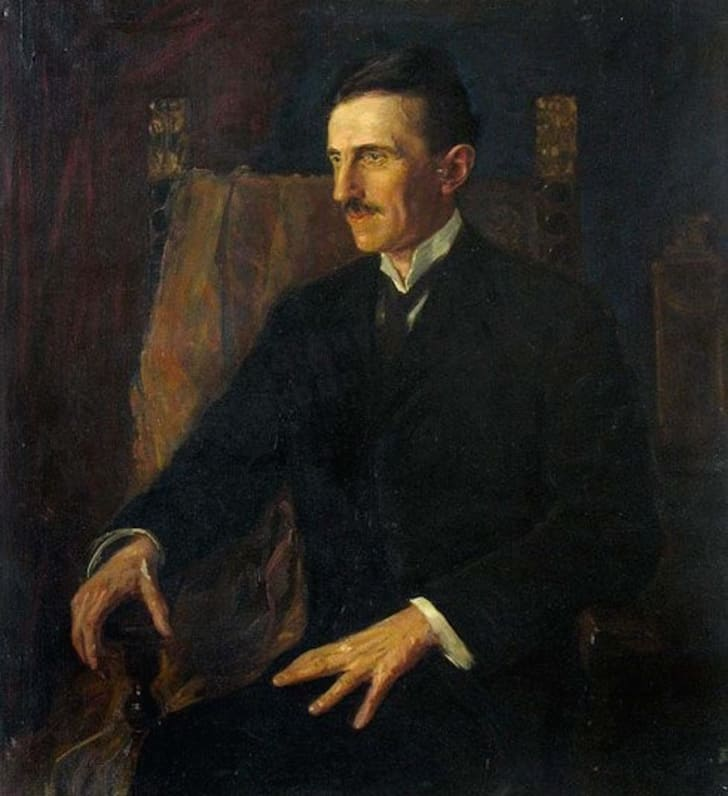 Blue Portrait of Nikola Tesla, the only painting Tesla posed for
