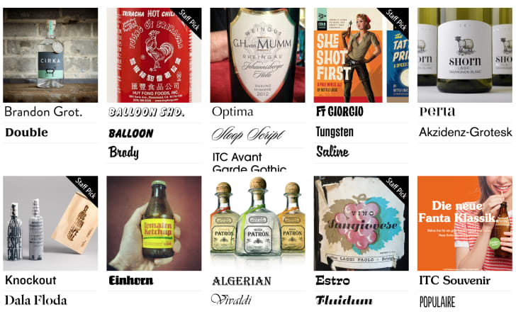 Images of bottles with their typefaces listed underneath