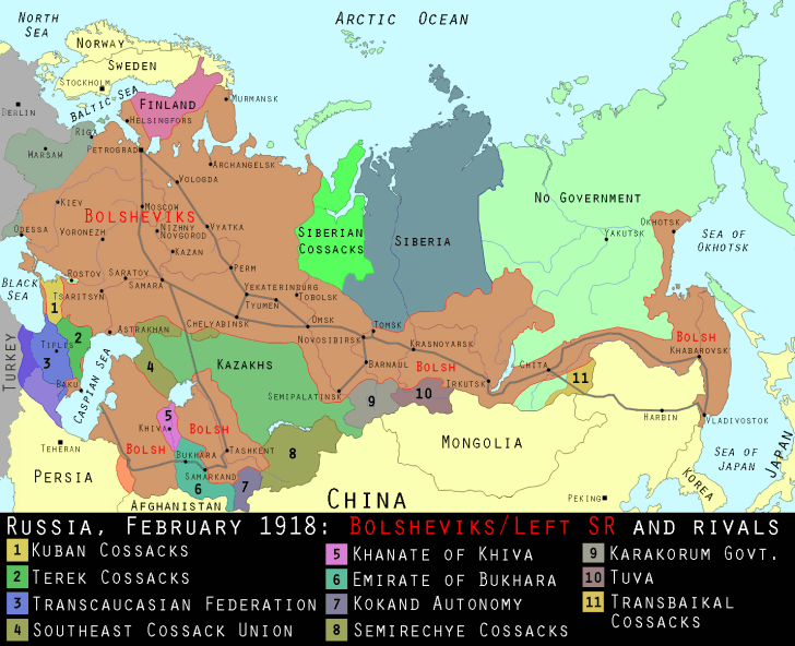 Diagram of the Russian Civil War, February 1918