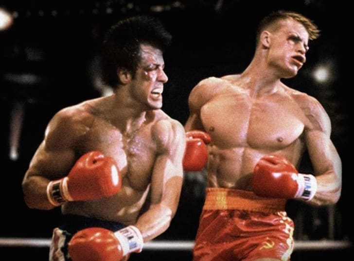 Dolph Lundgren and Sylvester Stallone in Rocky IV (1985)