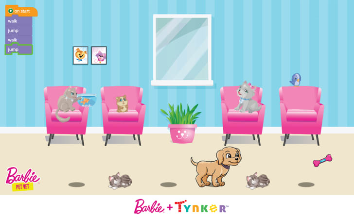 A screenshot of a Barbie coding lesson features a vet's office full of pets.