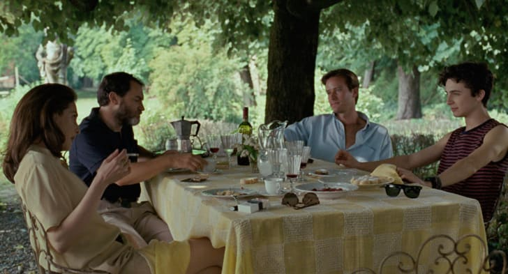 Left to right: Amira Casar as Annella, Michael Stulhbarg as Mr. Perlman, Armie Hammer as Oli-ver and Timothée Chalamet as Elio in 'Call Me By Your Name'