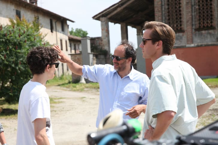 Left to right: Timothée Chalamet, Director Luca Guadagnino and Armie Hammer