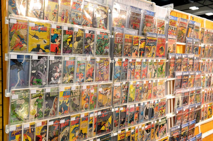 A selection of rare comics at a comic book convention