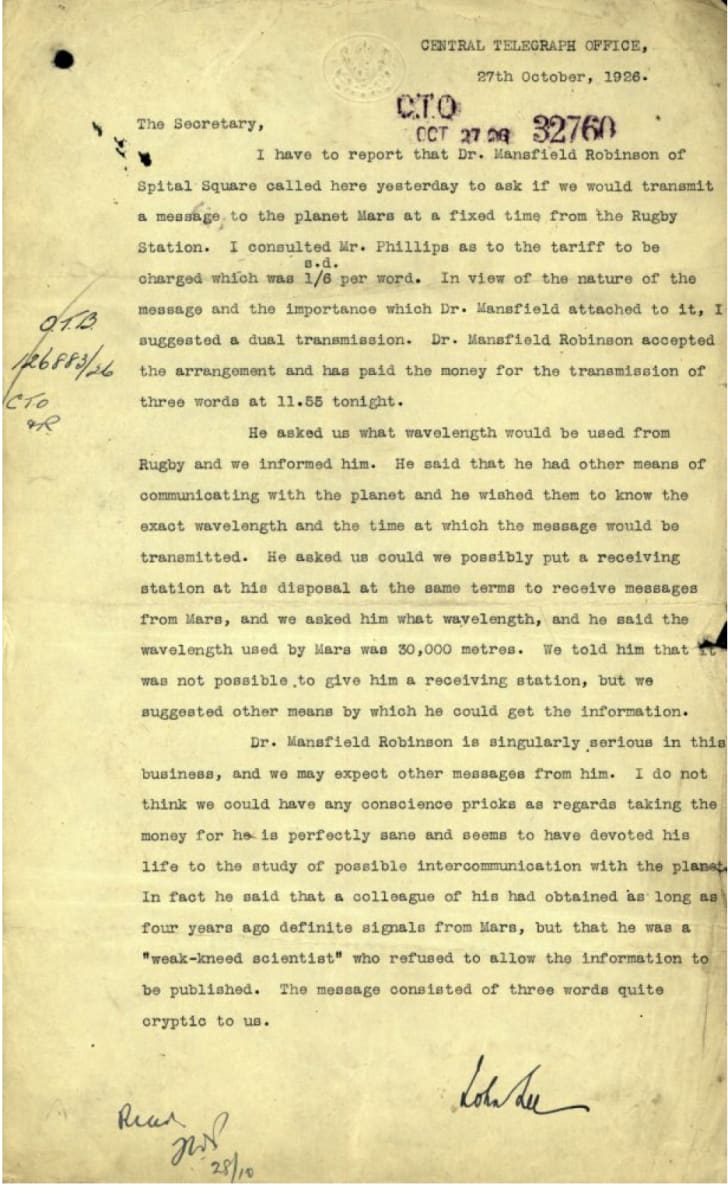 A 1926 memo from the Central Telegraph Office concerning Dr. Hugh Mansfield Robinson