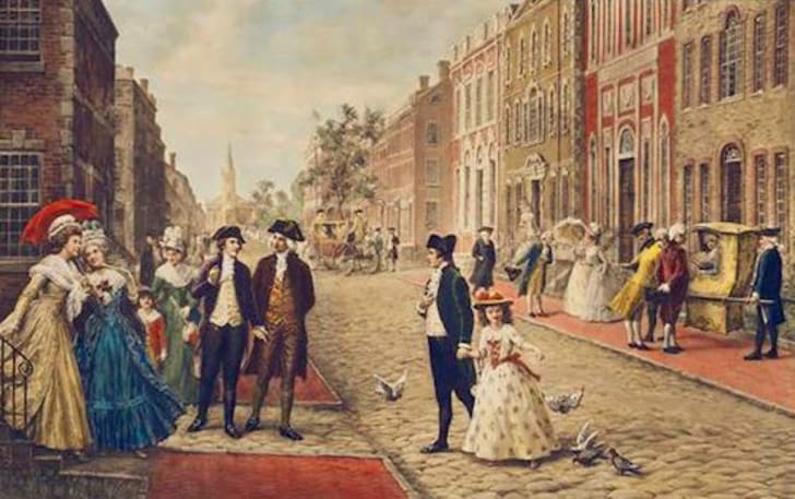 Aaron Burr, Alexander Hamilton and Philip Schuyler strolling on Wall Street, New York 1790