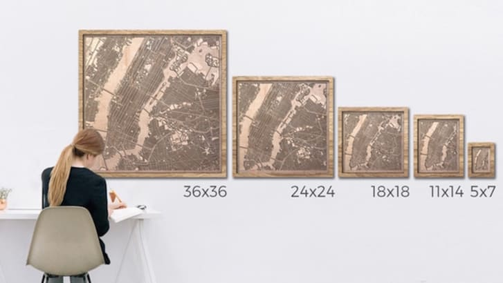 Wooden maps of various sizes.