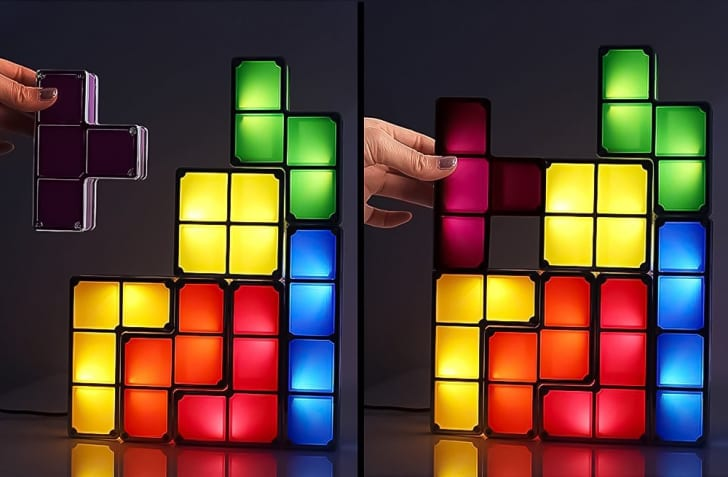 TACTBIT DIY Tetris Night Light, 7 Colors Stackable Tangram Puzzle LED Rechargeable Induction Interlocking Lamp 3D Magnetic Toys