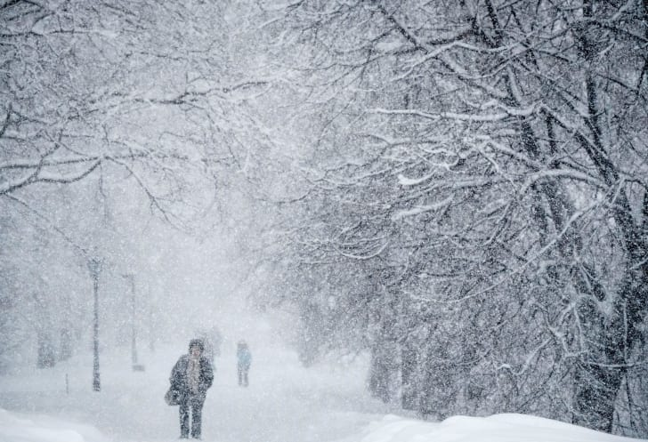 Walking through a blizzard in Moscow.