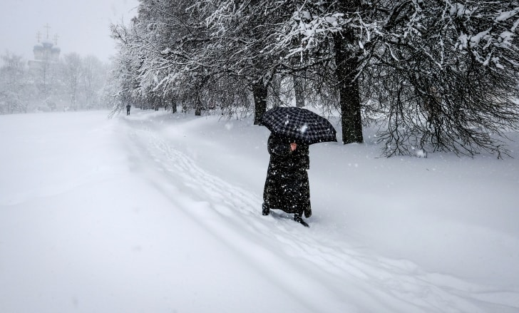Walking through the snow in Moscow.