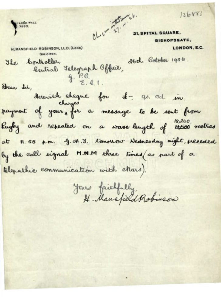 A handwritten letter from Dr. Hugh Mansfield Robinson to a telegraph office concerning his Mars transmission