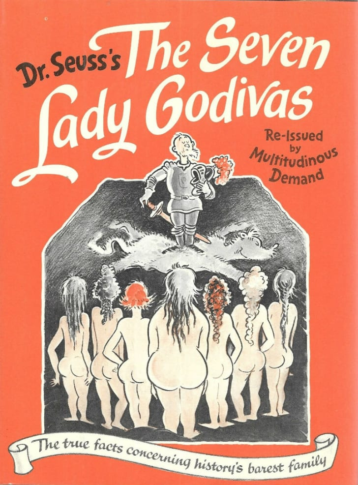 The book cover for 'The Seven Lady Godivas' by Dr. Seuss