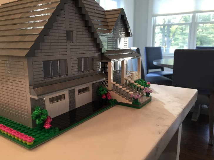 The exterior of a house made of LEGO