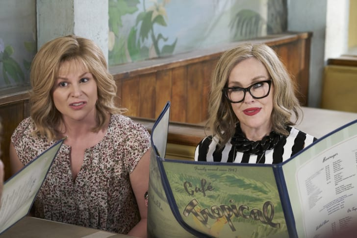 Jennifer Robinson as Jocelyn Schitt and Catherine O'Hara as Moira Rose in Schitt's Creek.