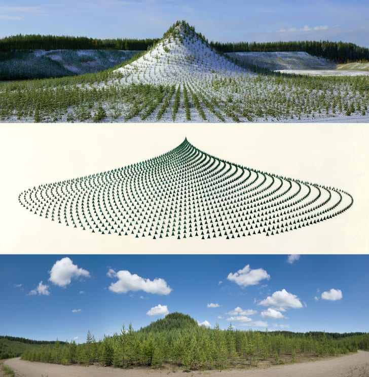 A triptych of images of Tree Mountain