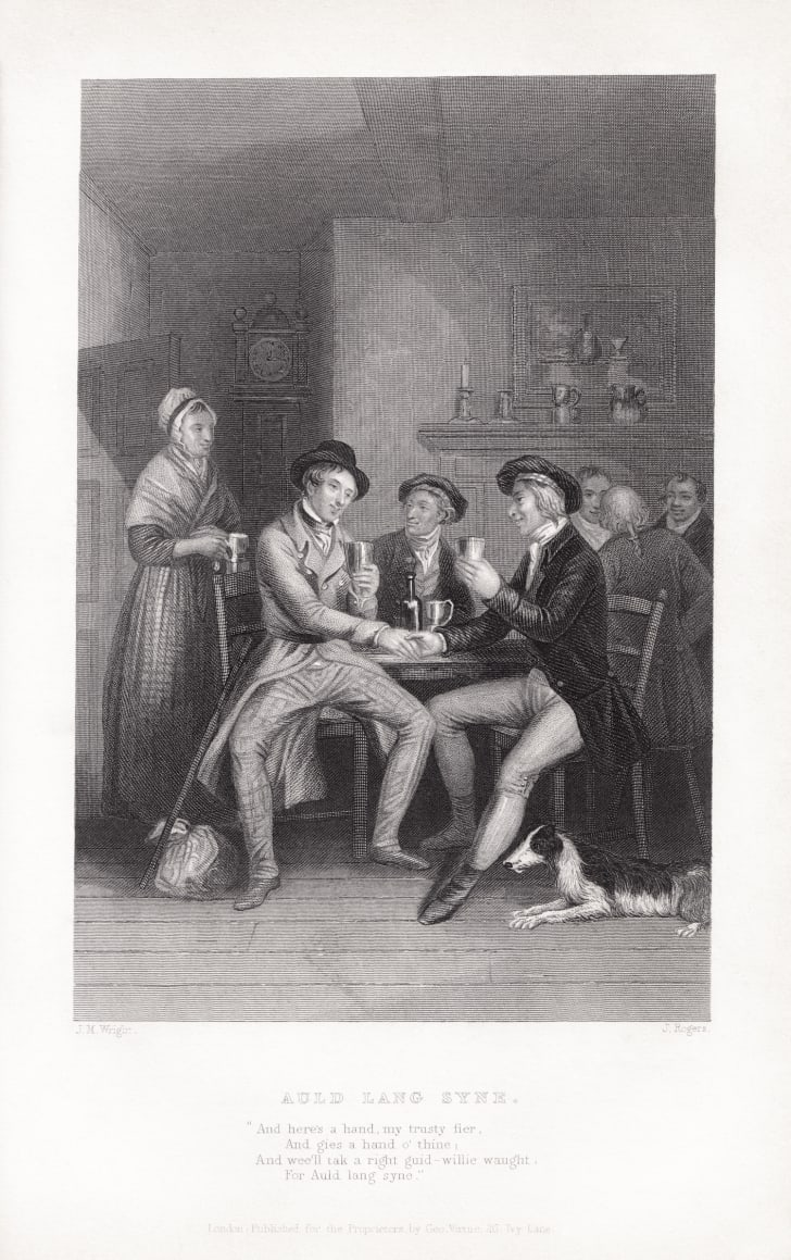 Illustration to Robert Burns' poem Auld Lang Syne by J.M. Wright and Edward Scriven