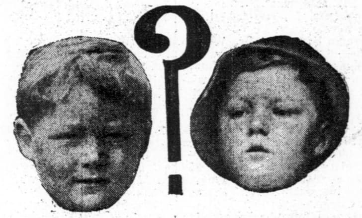 Newspapers compared a photo of Bobby Dunbar (L) with an image of the boy believed to be Bobby following his disappearance (R).