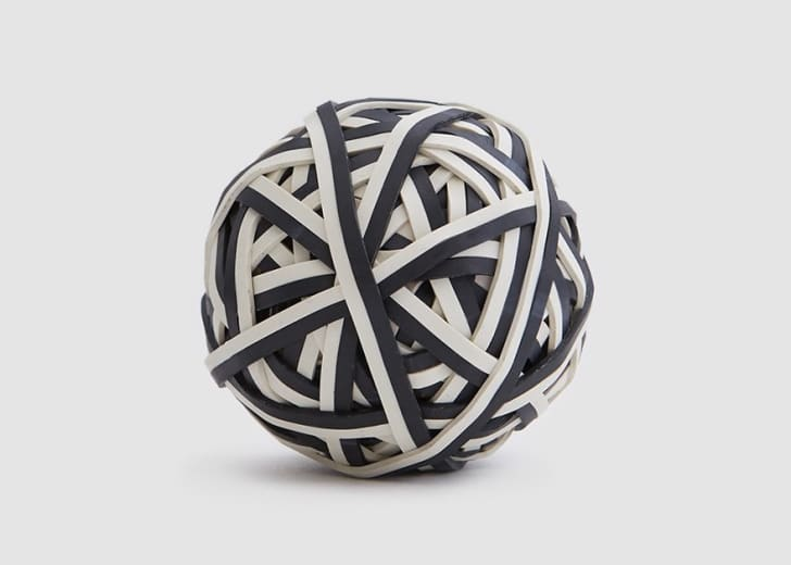 Black and white rubber band ball