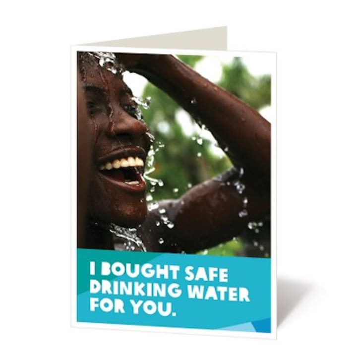 Card showing someone bathing in water.