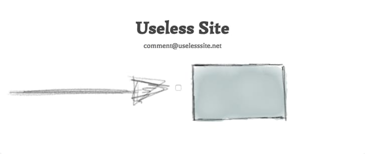 A hand-drawn arrow points to a box for the reader to click under a banner that reads 'Useless Site.'