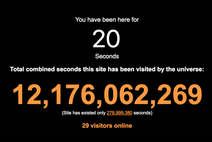 A screenshot from The Most Seconds reads 'You have been here for 20 seconds.'